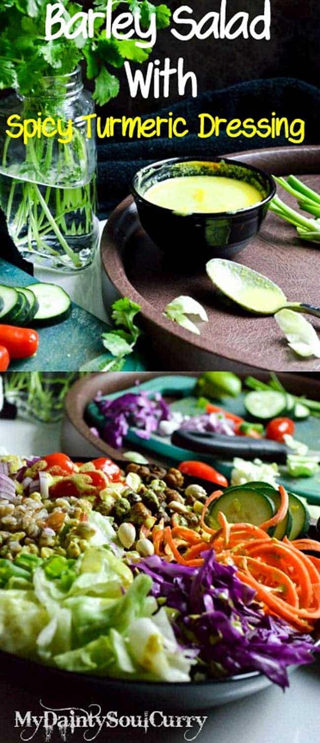 Vegan Barley Salad #vegan #healthy served with fresh spicy turmeric dressing!