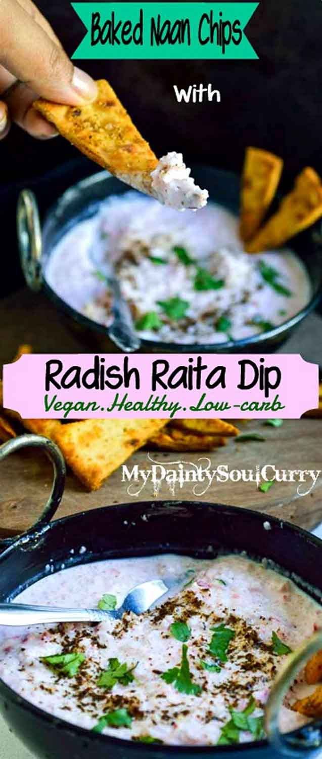 Radish raita dip with curry flavored naan chips