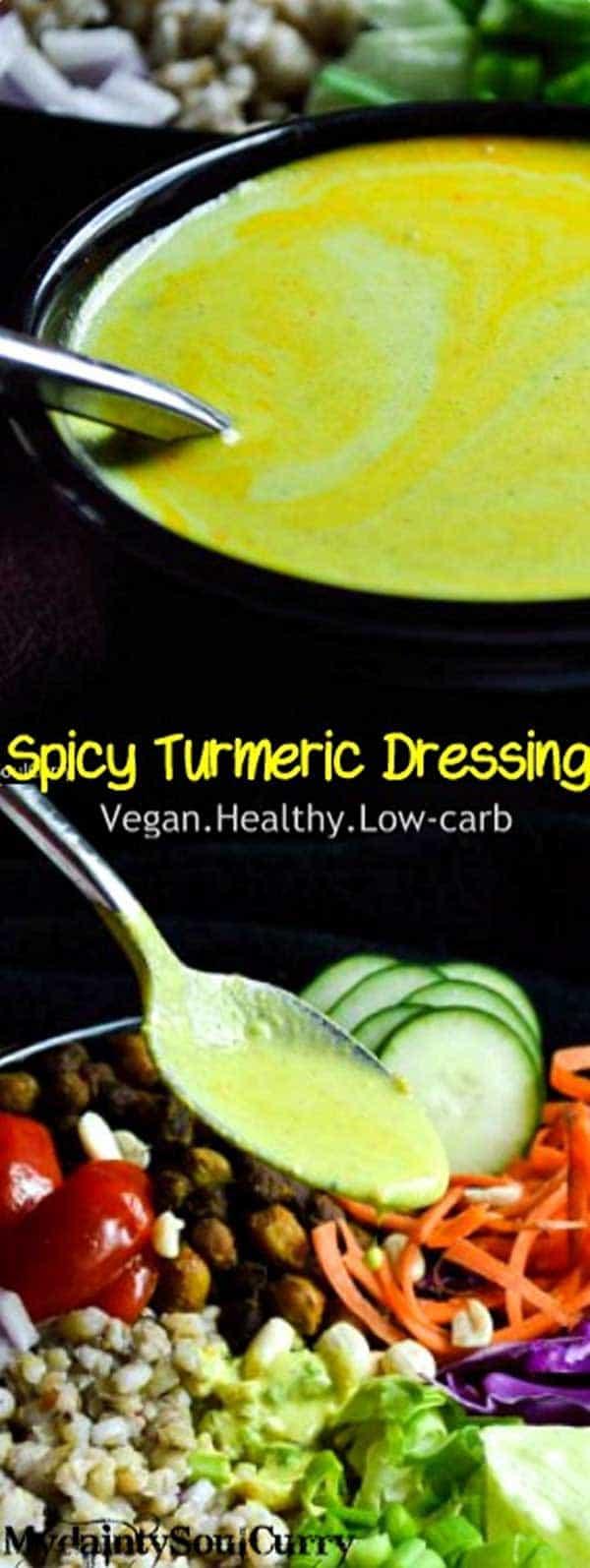 Spicy Turmeric dressing with Vegan Barley Salad #vegan #healthy