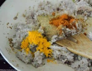 adding spices to Indian curry paste