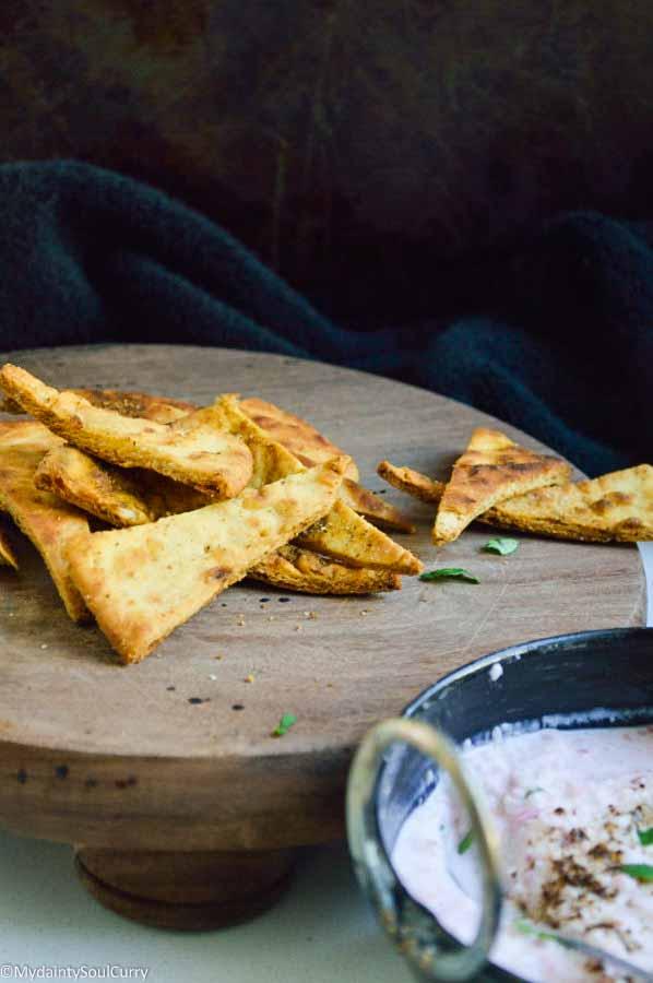 Radish raita naan chips