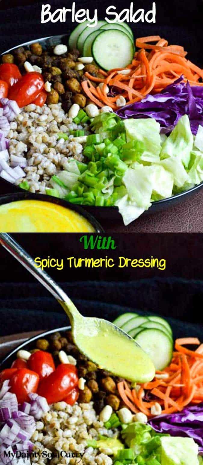 Vegan Barley Salad with spicy turmeric dressing #health #summermeal #salad