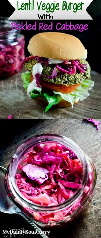 Spicy lentil veggie burger #vegan #healthy