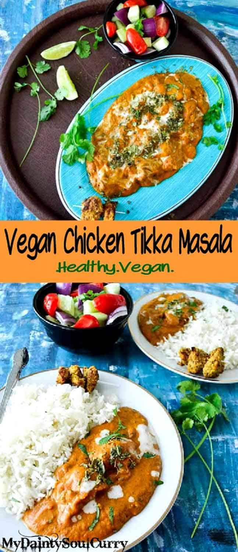 Vegan chicken tikka masala with seitan tikka #healthy #vegan