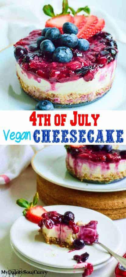 4th of july Vegan cheesecake, #VEGAN #dessert #healthy