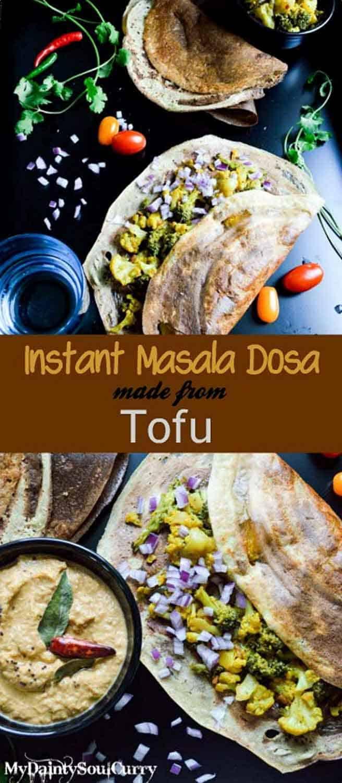 Instant tofu dosa, without rice flour. #healthy #vegan