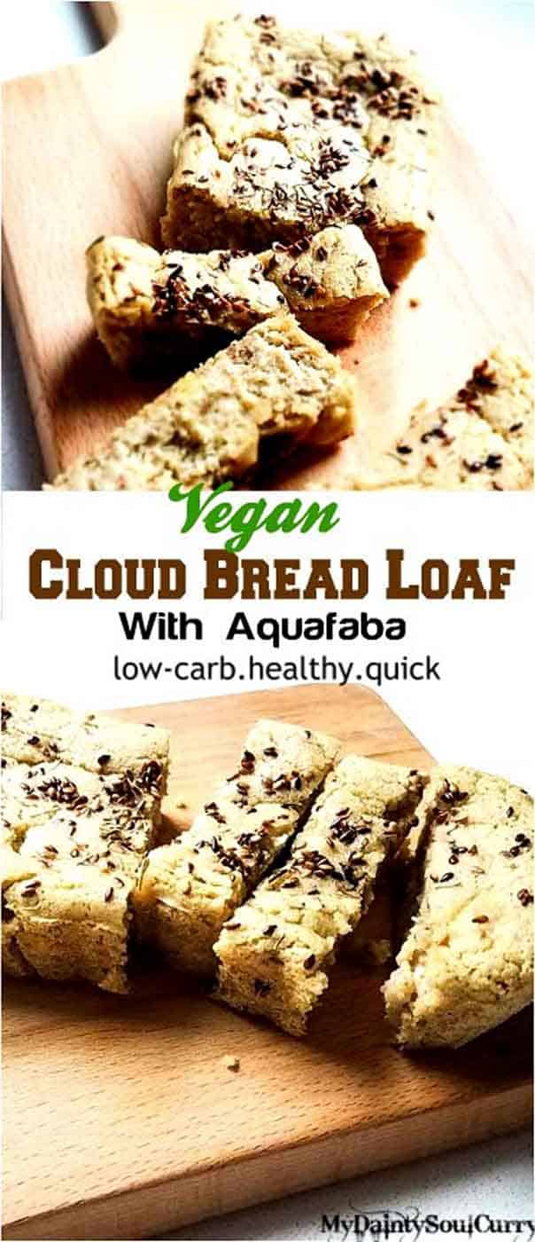 Vegan cloud bread loaf made with whipped aquafaba #vegan #lowcarb