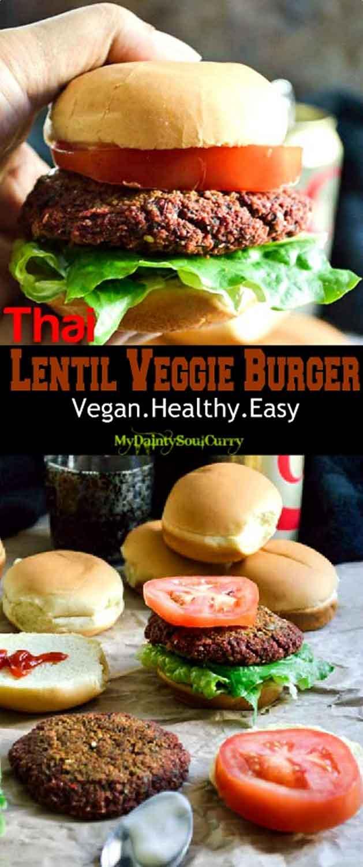 Thai lentil burger with mixed lentils+herbs+spices #vegan #healthy