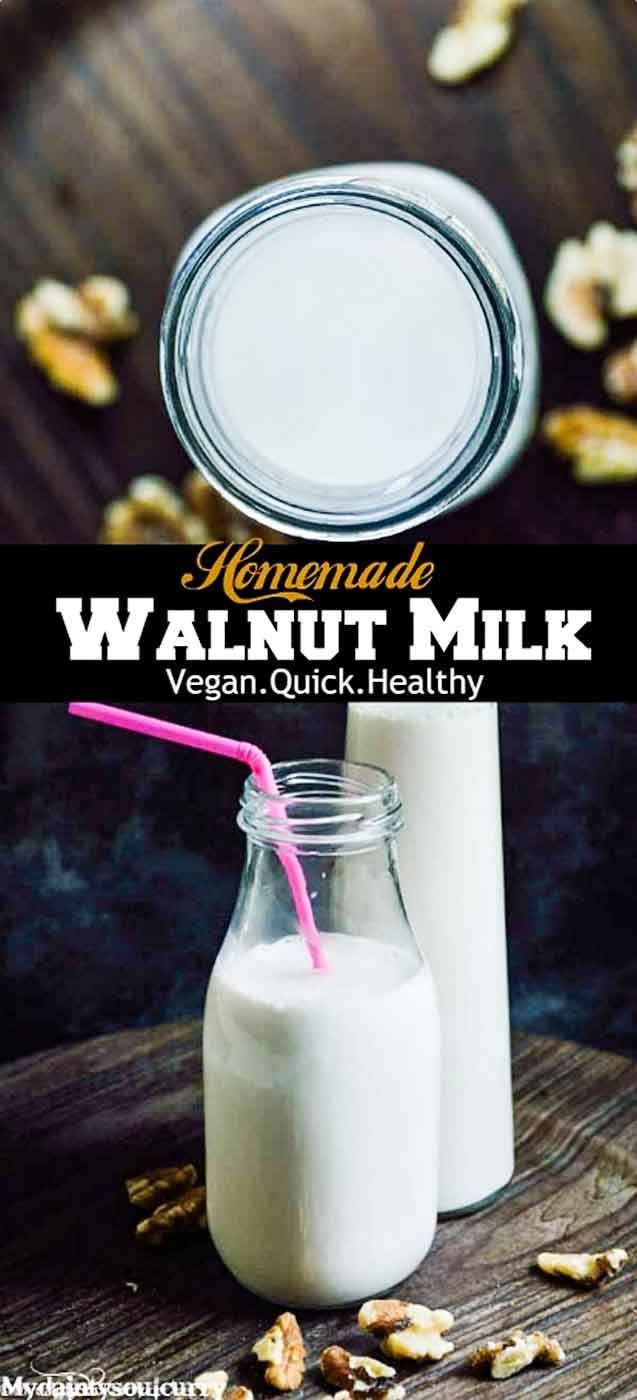 Homemade walnut milk, rich in omega 3 and low-calorie. #low-carb #vegan