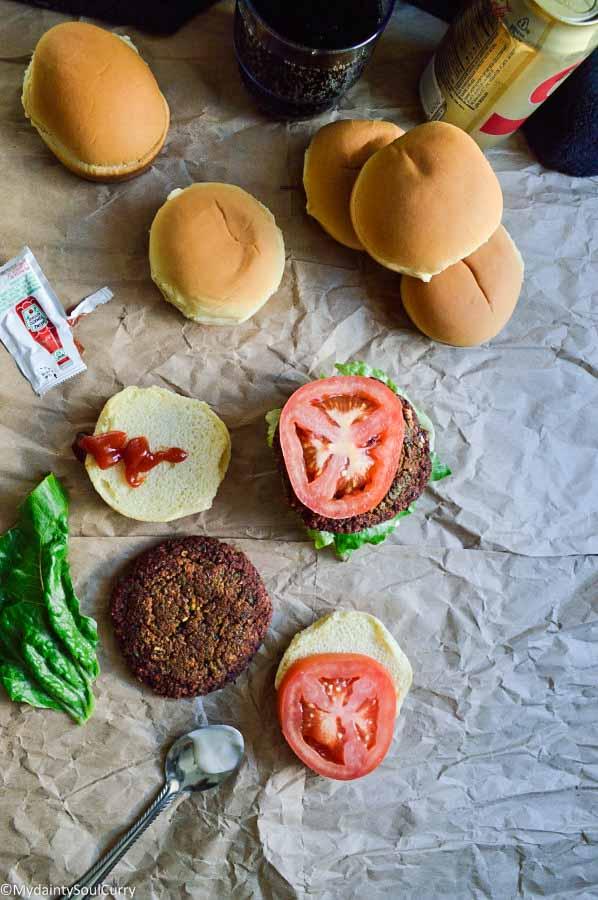 Thai lentil burger