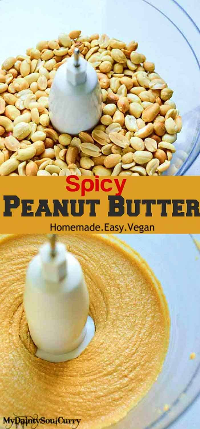 Salty N spicy peanut butter, homemade and vegan #healthy #vegan