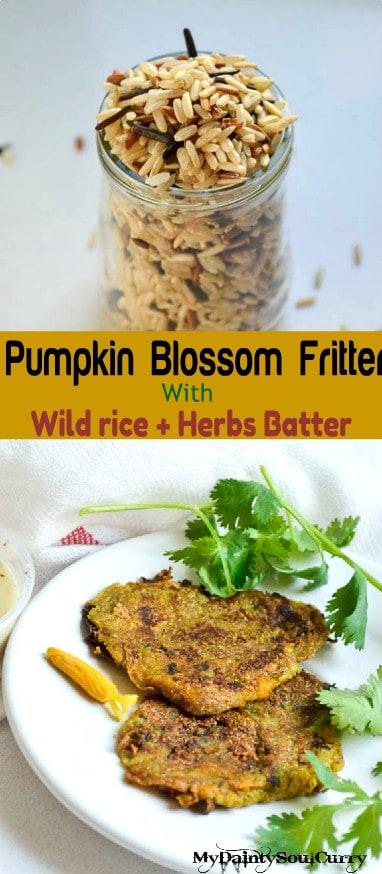 vegan pumpkin blossom fritters #vegan #no-fry #low-calorie
