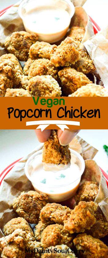 Spicy baked vegan popcorn seitan #vegan #crispy #healthy