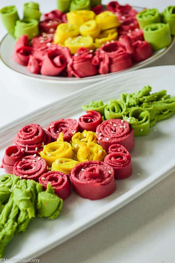 rainbow khandvi rolls