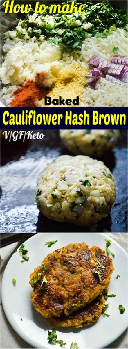 low-carb vegan baked cauliflower hash browns, #vegan, #keto, #low-carb