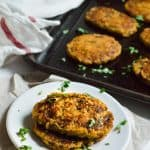 Low-carb vegan baked cauliflower hash browns