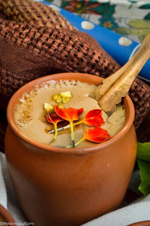 Vegan mishti doi or sweetened vegan yogurt