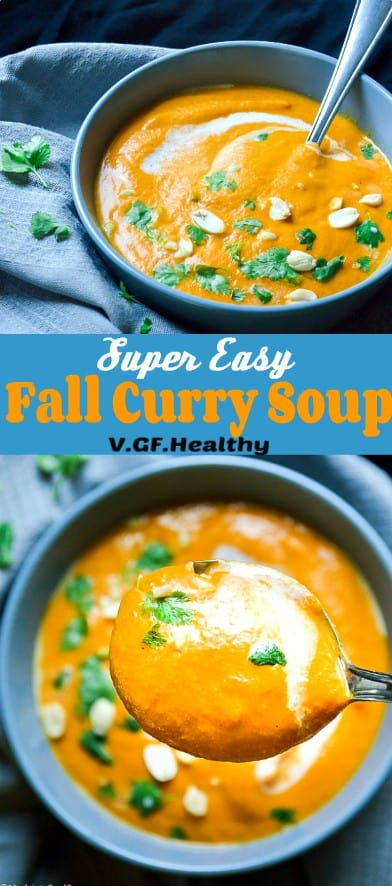 Creamy Vegan Fall Vegetable Curry Soup #vegan #healthy