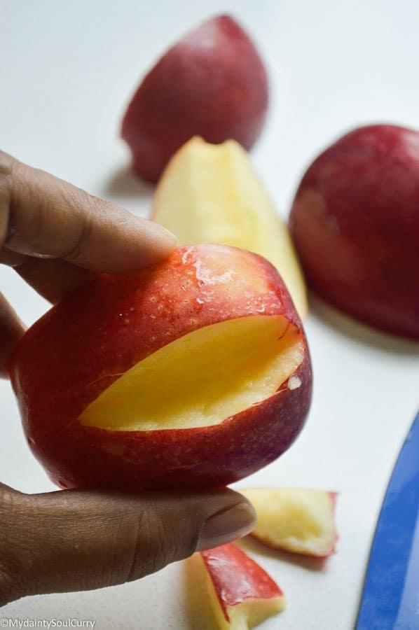 quick vegan Halloween apple monsters