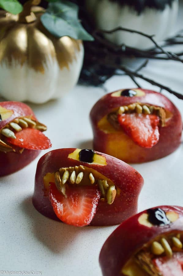 quick vegan Halloween apple monsters
