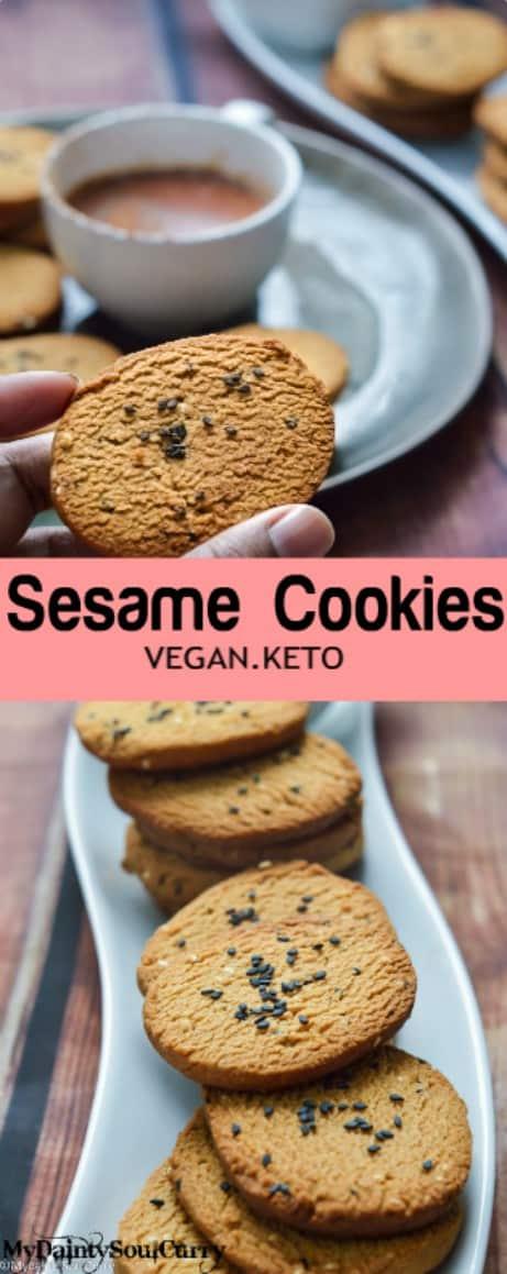 Vegan Keto Sesame Cookies #vegan #keto #easy