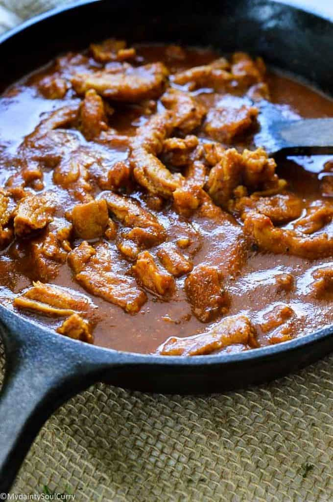 Vindaloo Curry with soy curls and homemade vindaloo paste