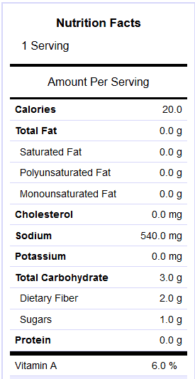 Pickled jalapeno nutrition info