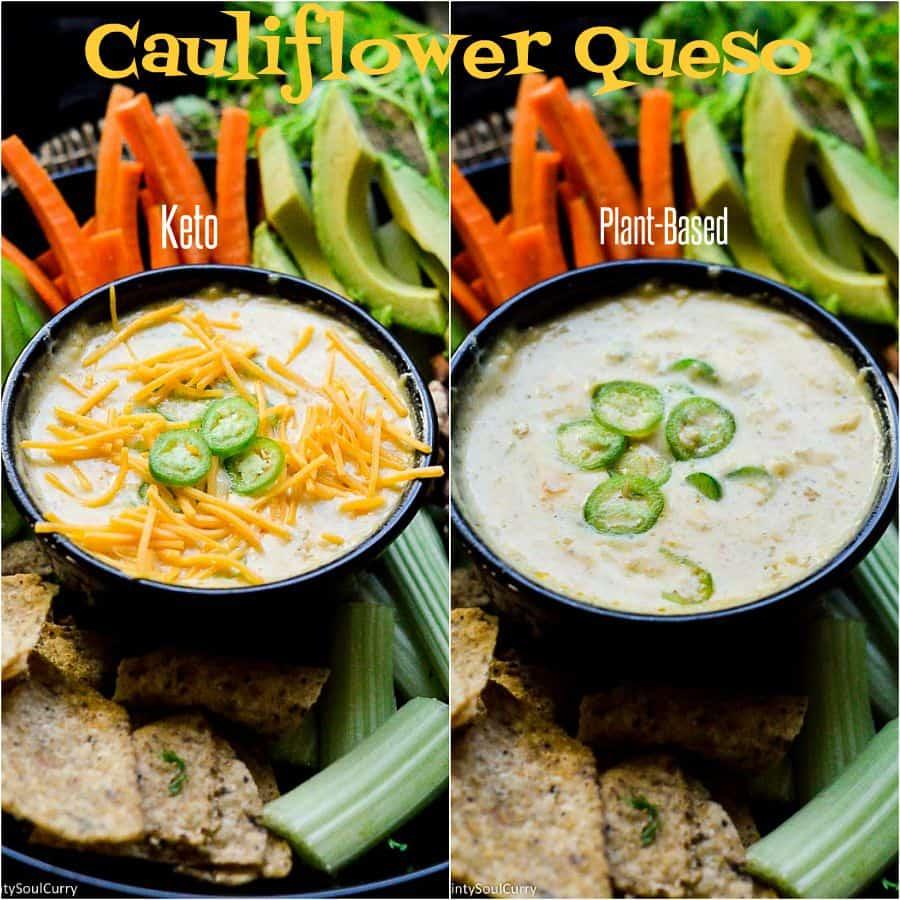 Keto and Vegan cauliflower queso