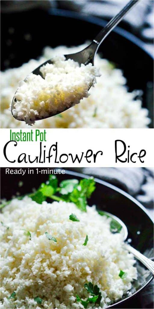 Instant Pot cauliflower rice, ready in a minute. It's vegan, keto and #easyrecipe #instantpotrecipes #veganrecipes #veganketo #mydaintysoulcurry