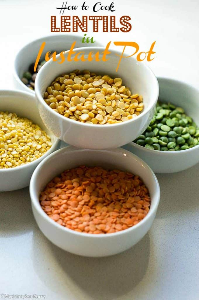 How to cook lentils in instant pot, easy lentil cooking with pressure cook time and a chart