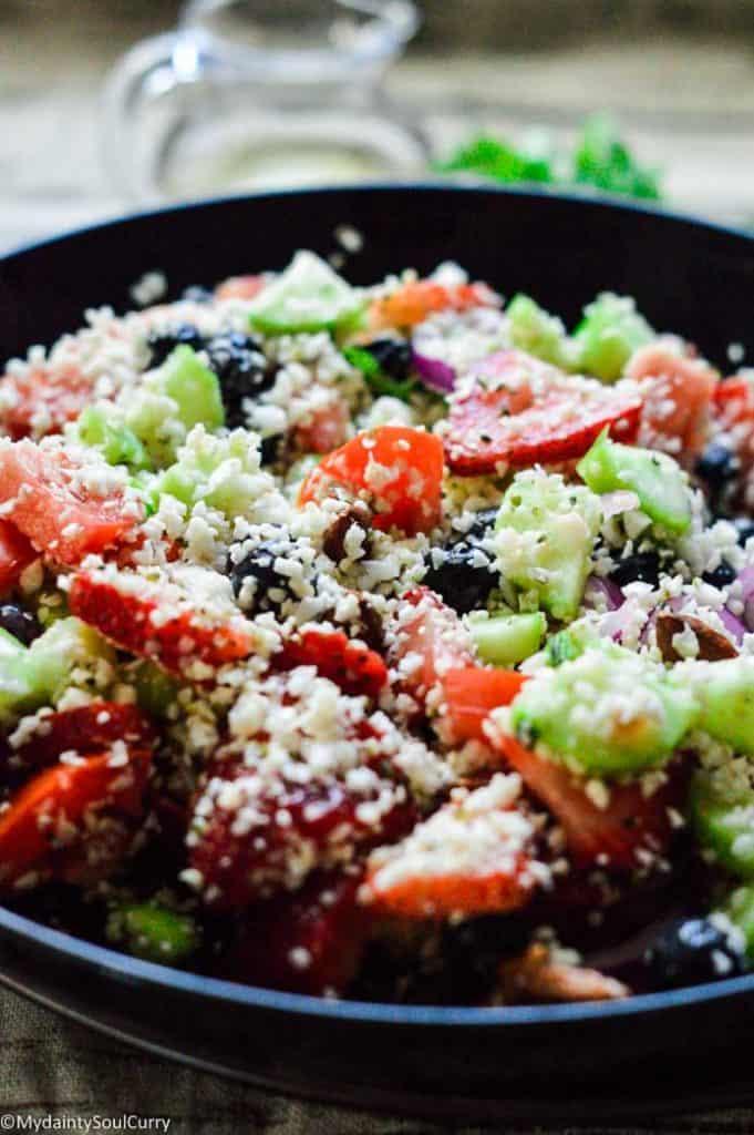 easy keto cauliflower tabbouleh