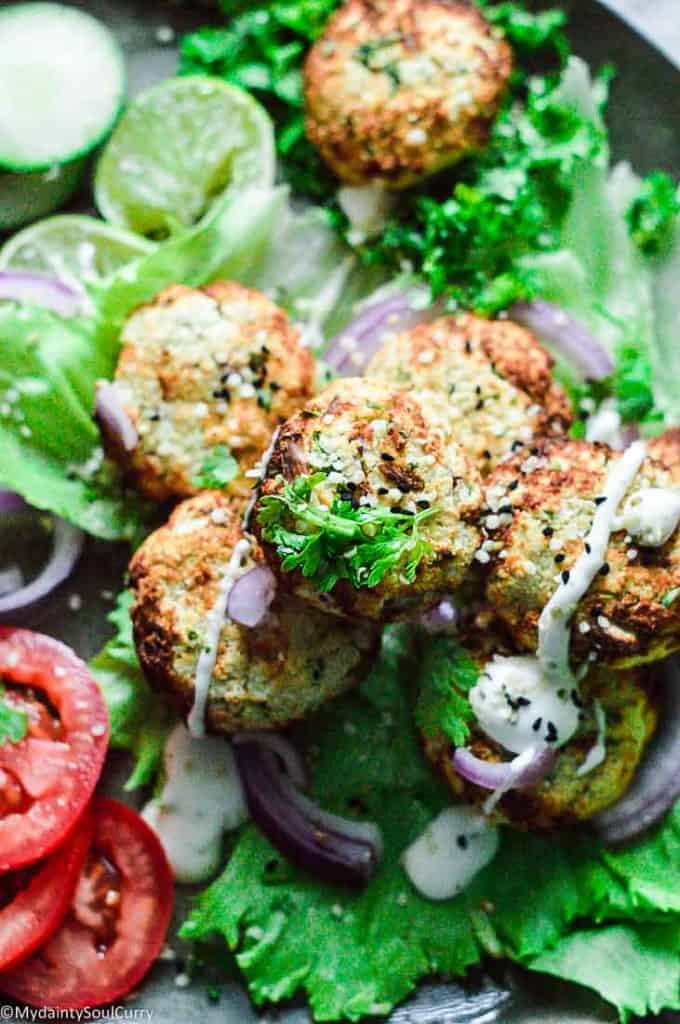 vegan keto falafel made from cauliflower and spices