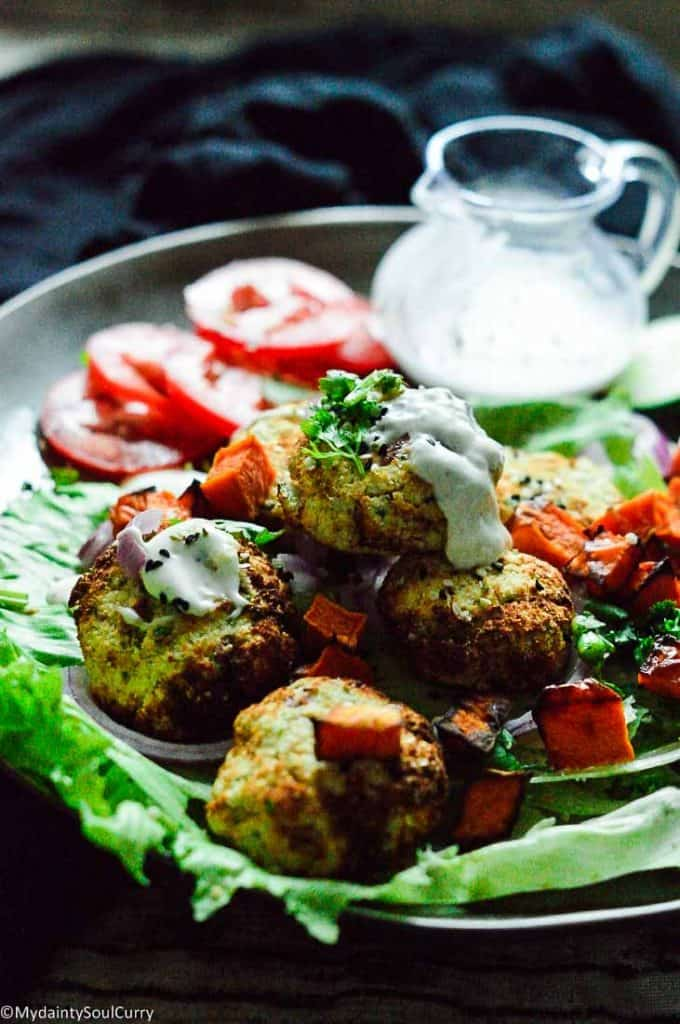 easy vegan falafel made keto. made from cauliflower and almond flour