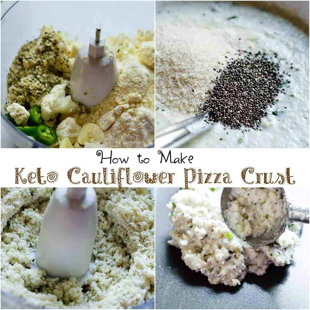 step by step image of cauliflower pizza crust