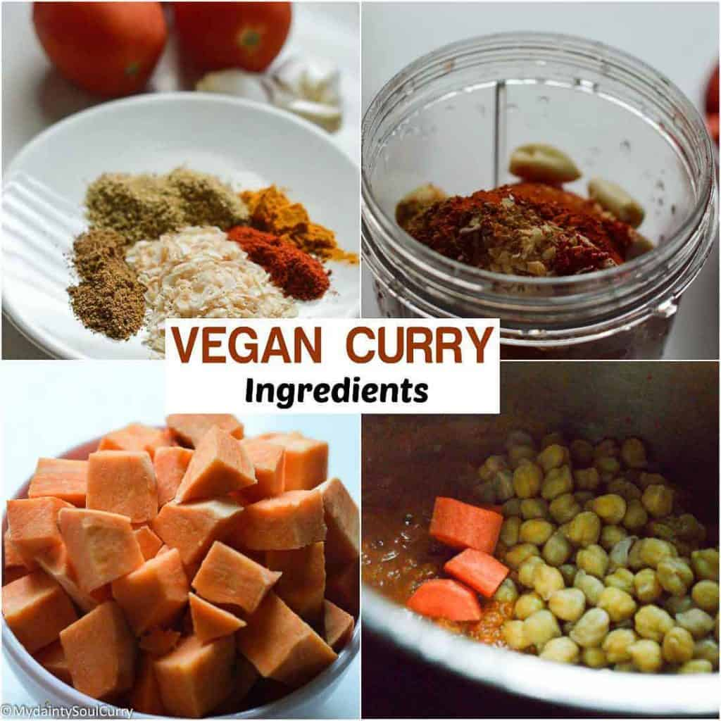 Curry ingredients for vegan curry