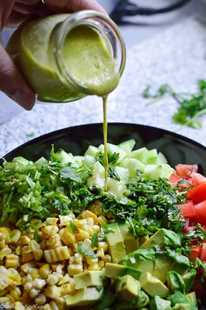 Cucumber corn salad with dressing