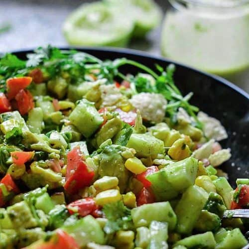 corn salad with avocado and tomatoes
