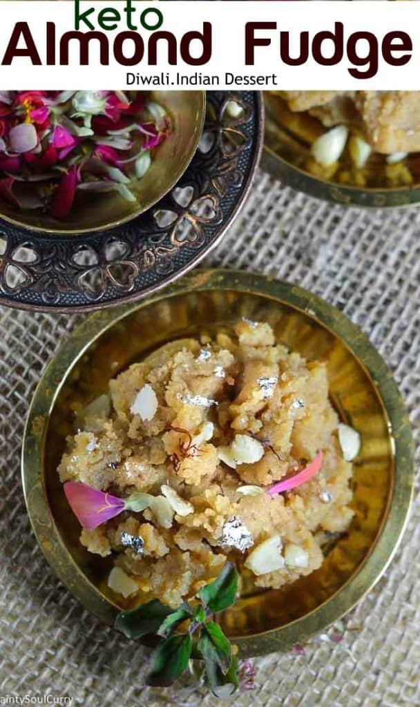 Easy Almond fudge halwa made in almond flour