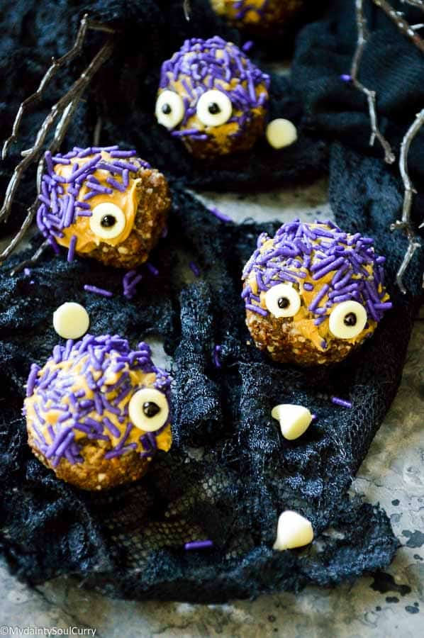 Dates and nuts energy balls in monster form