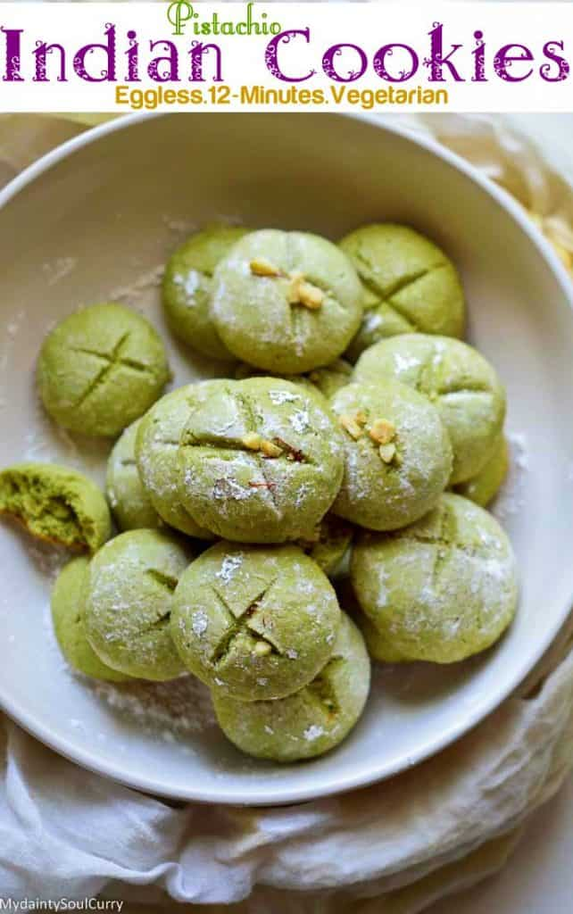 Easy Indian Cookies made with pistachios
