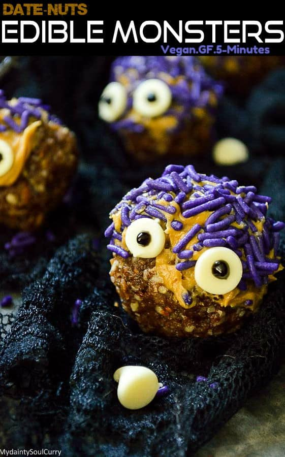 Easy Halloween Monster with date energy balls