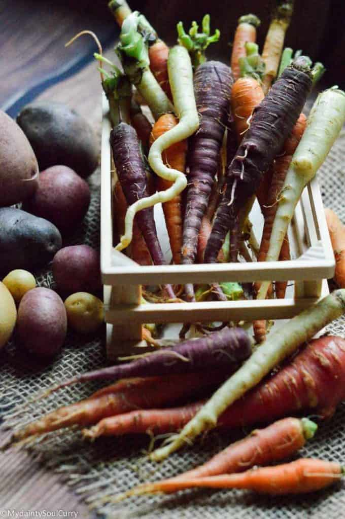 organic, home-grown carrots and potatoes