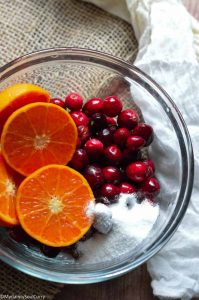 Ingredients of homemade cranberry sauce