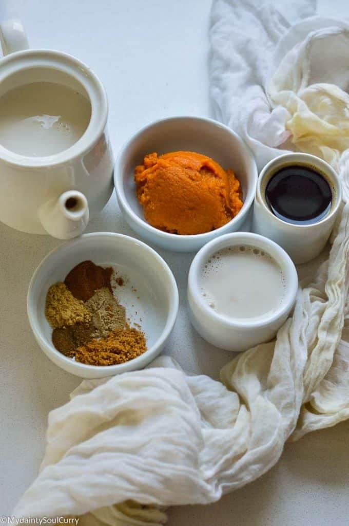 Ingredients of Pumpkin latte