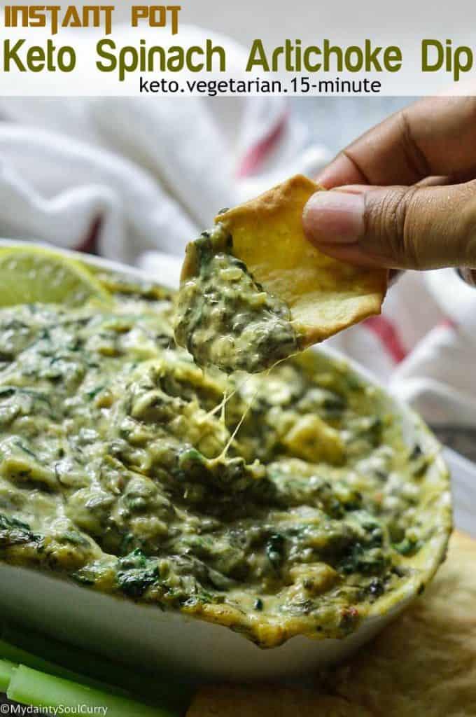 Keto instant pot spinach artichoke dip