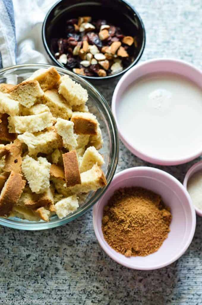 Ingredients for instant pot bread pudding