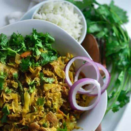 Bowl of curried cabbage