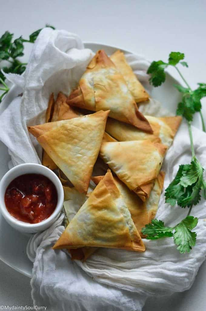 Indian air fryer samosa