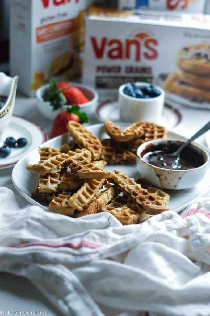 Waffle churros with chocolate sauce