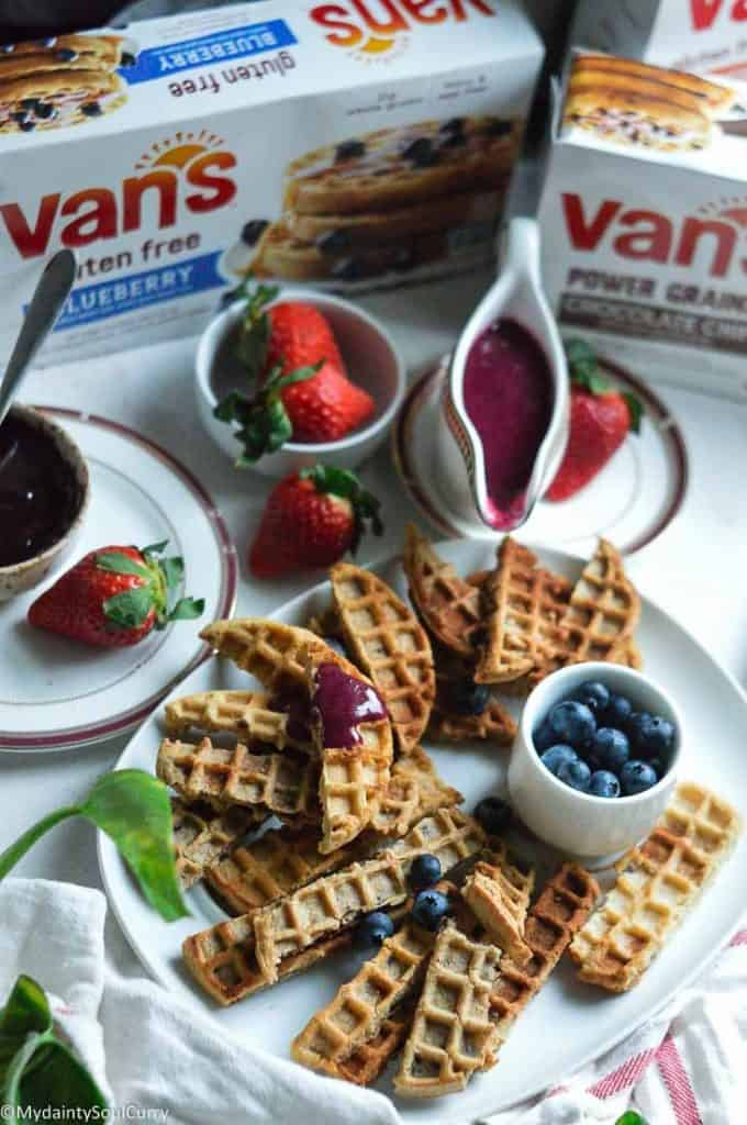 Easy waffle sticks with frozen waffles